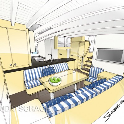 Mischief - interior illustration for McGowan Marine Design