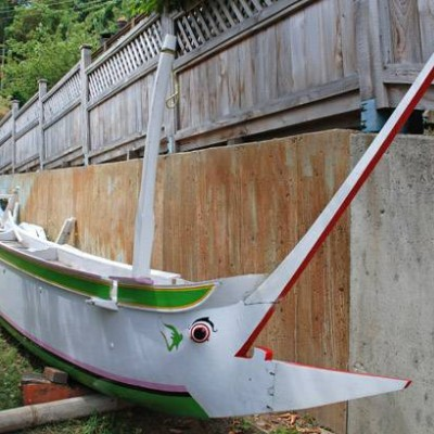 Jukung double outrigger canoe