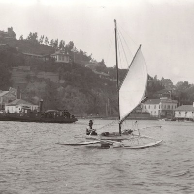 Duster - Victorian era catamaran on San Francisco bay.
