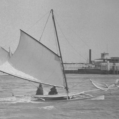 Duster - Victorian era catamaran on San Francisco bay.
