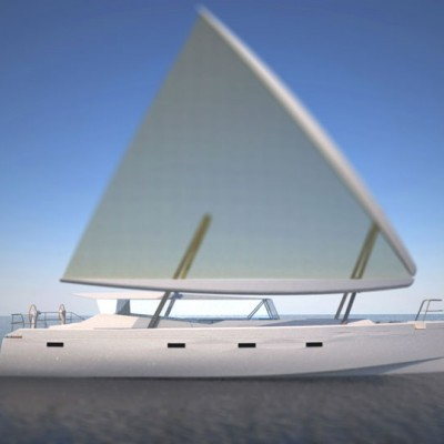 Motorsailor with delta wing sail rig